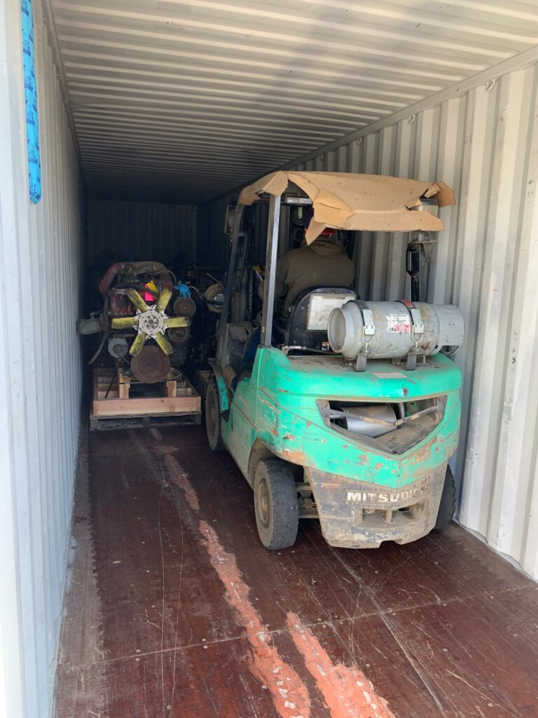 forklift unloading container