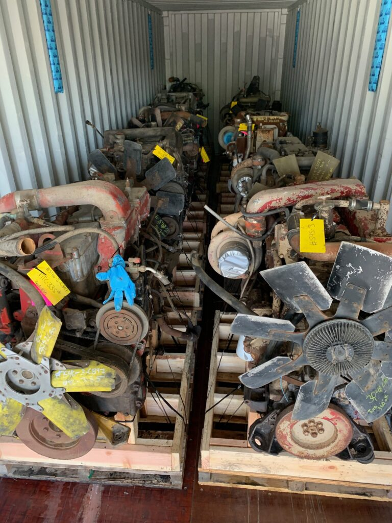 engines loaded into container
